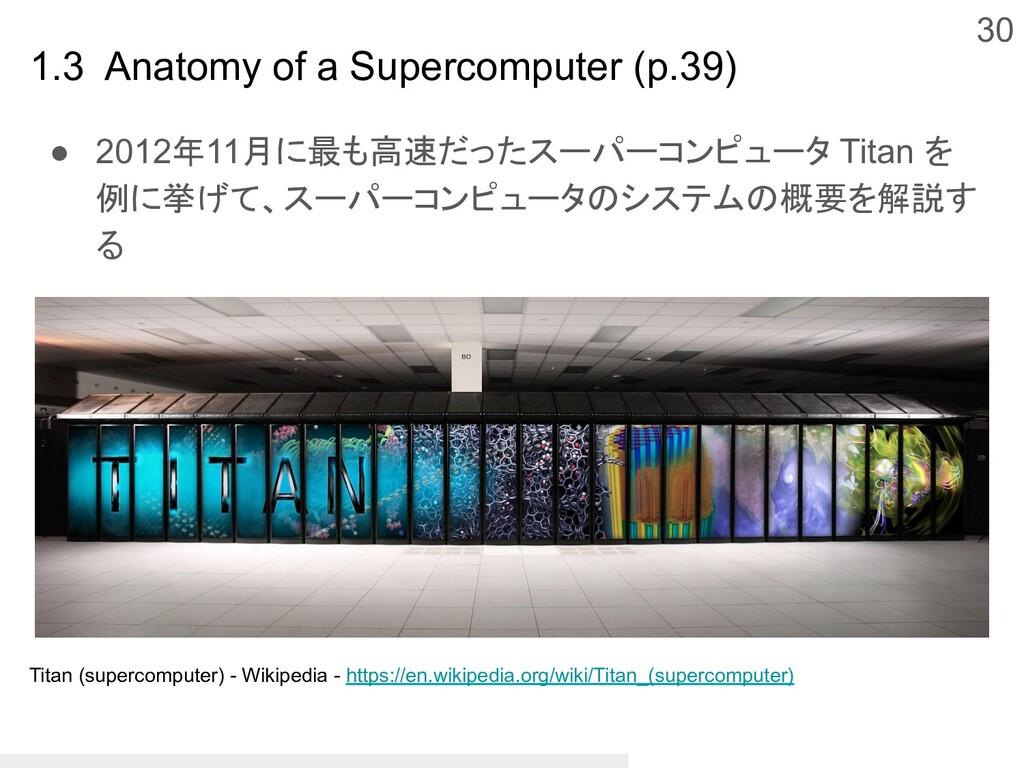30 ● 2012年11月に最も高速だったスーパーコンピュータ Titan を 例に挙げて、ス...