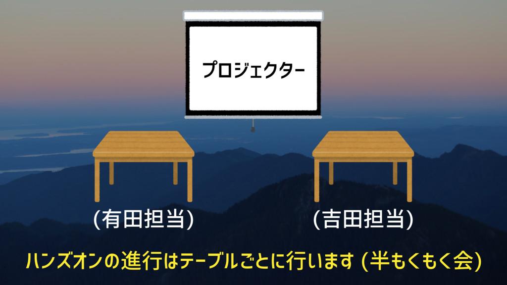 (有田担当) (吉田担当) プロジェクター ハンズオンの進行はテーブルごとに行います (半もく...