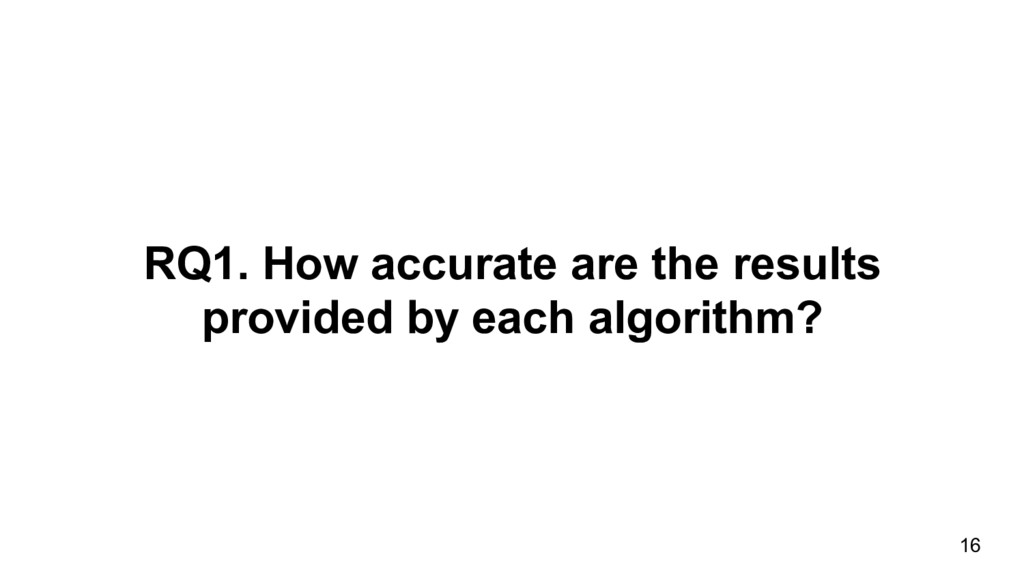 RQ1. How accurate are the results provided by e...