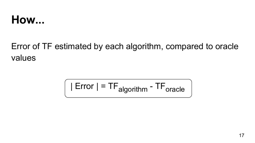 How... 17 Error of TF estimated by each algorit...