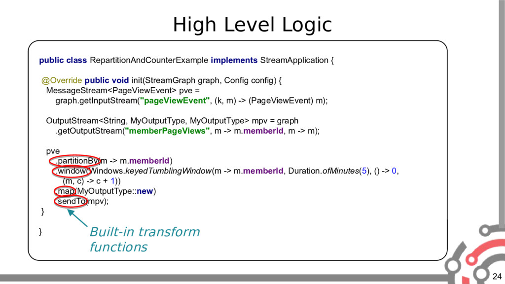 24 High Level Logic public class RepartitionAnd...