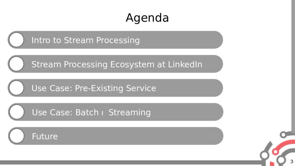3 Agenda Intro to Stream Processing Stream Proc...