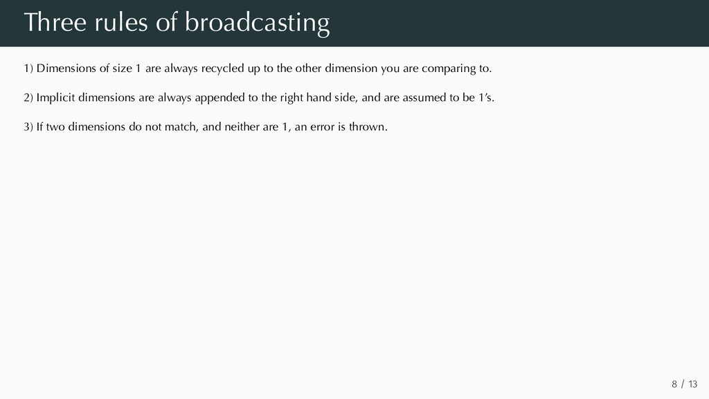 Three rules of broadcasting 1) Dimensions of si...