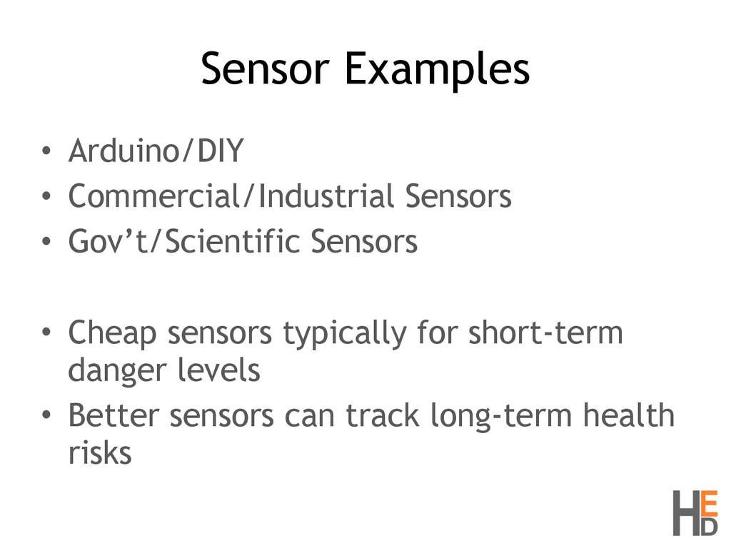 Sensor Examples • Arduino/DIY • Commercial/Indu...