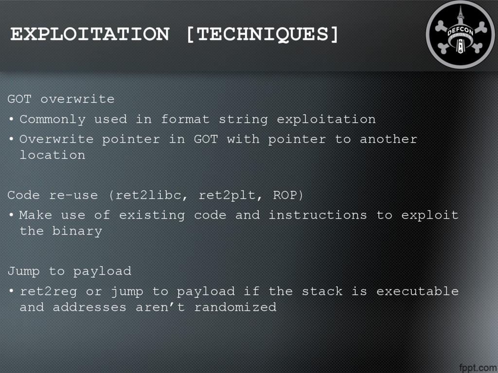 EXPLOITATION [TECHNIQUES] GOT overwrite • Commo...