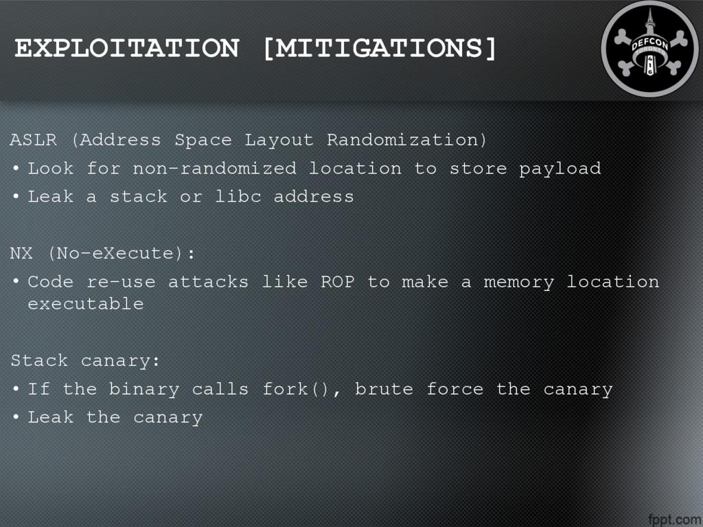 EXPLOITATION [MITIGATIONS] ASLR (Address Space ...