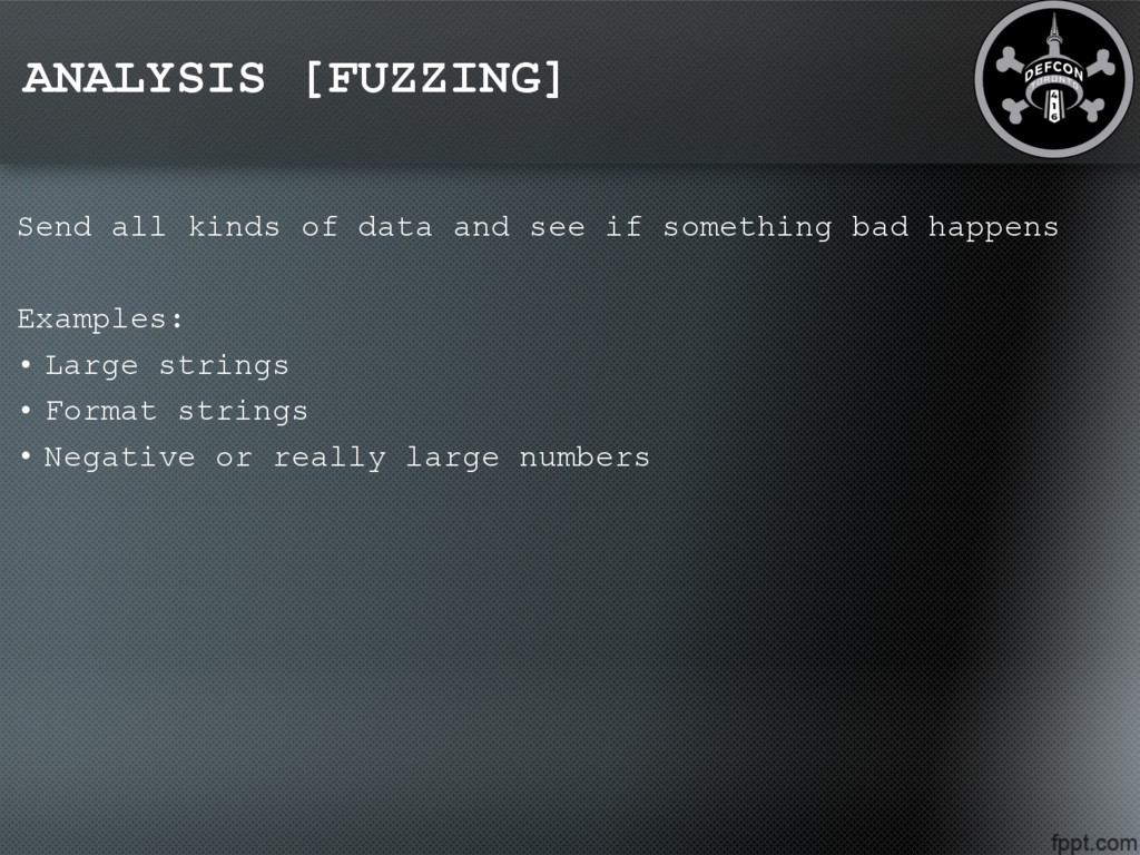 ANALYSIS [FUZZING] Send all kinds of data and s...