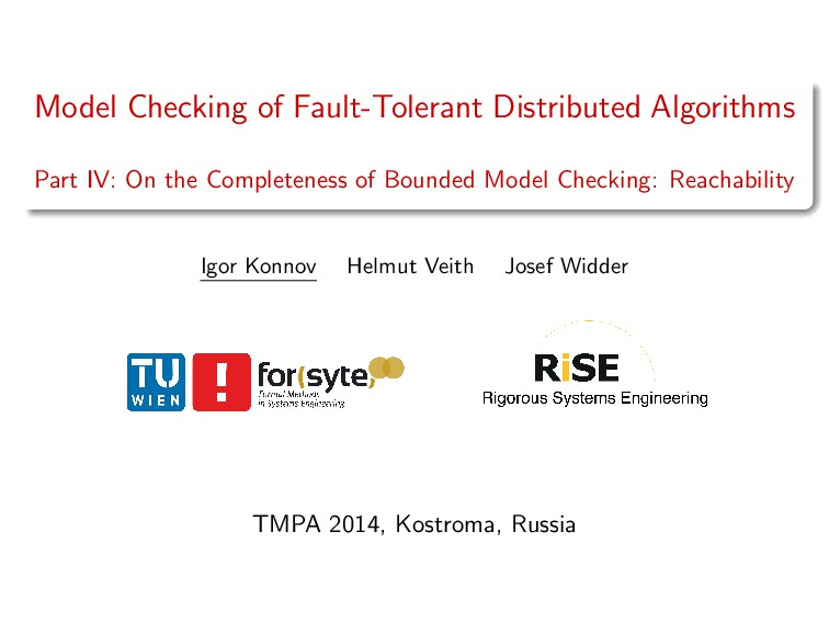 Model Checking of Fault-Tolerant Distributed Al...