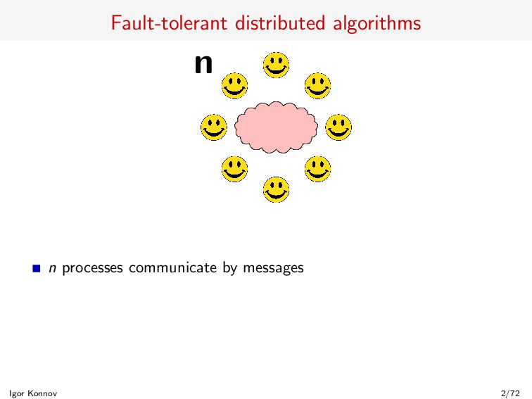 Fault-tolerant distributed algorithms n n proce...