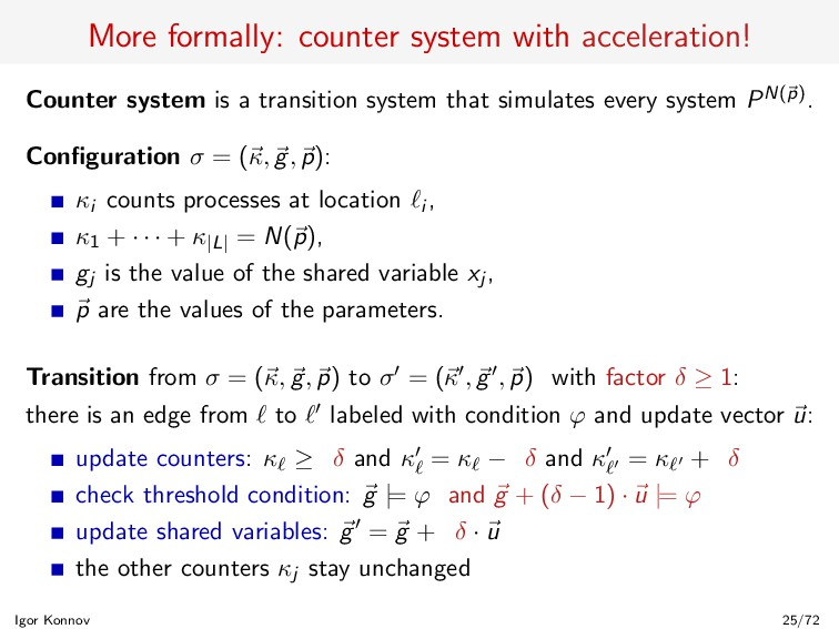 More formally: counter system with acceleration...