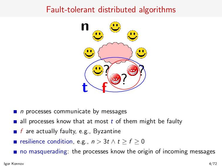 Fault-tolerant distributed algorithms n ? ? ? t...