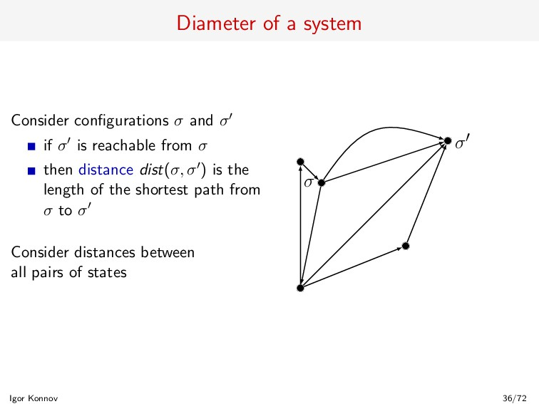 Diameter of a system Consider configurations σ a...