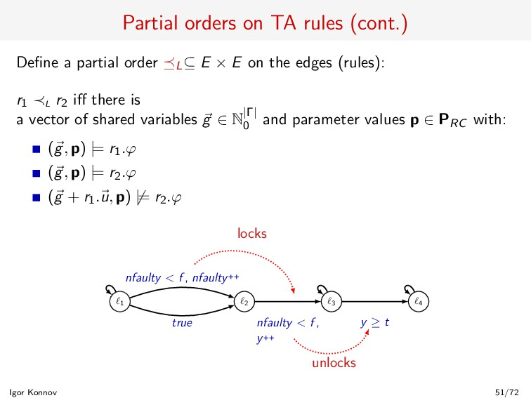 Partial orders on TA rules (cont.) Define a part...