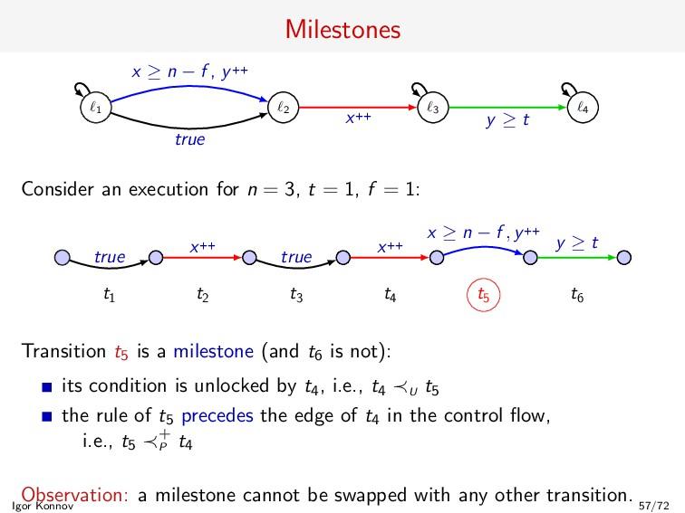 Milestones 1 2 3 4 true x ≥ n − f , y++ x++ y ≥...