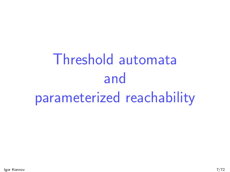 Threshold automata and parameterized reachabili...