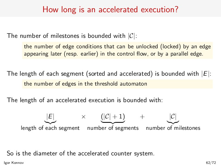 How long is an accelerated execution? The numbe...