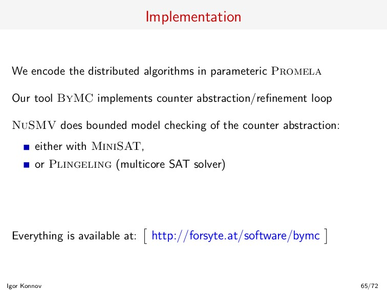 Implementation We encode the distributed algori...