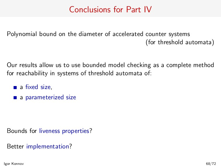 Conclusions for Part IV Polynomial bound on the...