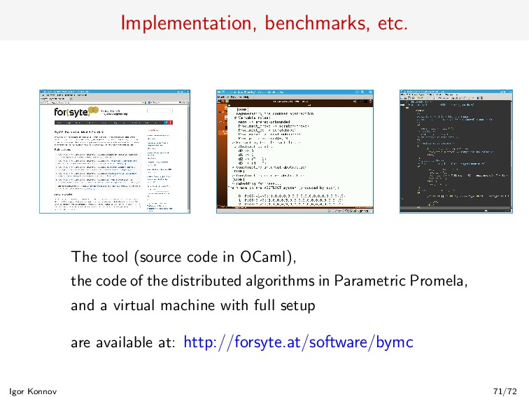 Implementation, benchmarks, etc. The tool (sour...