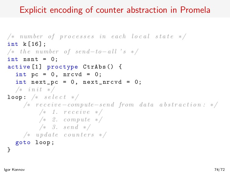 Explicit encoding of counter abstraction in Pro...