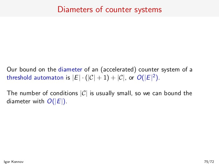 Diameters of counter systems Our bound on the d...