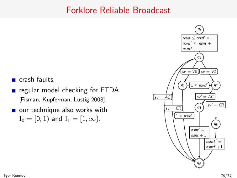 Forklore Reliable Broadcast crash faults, regul...