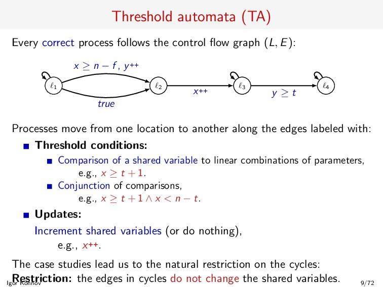 Threshold automata (TA) Every correct process f...