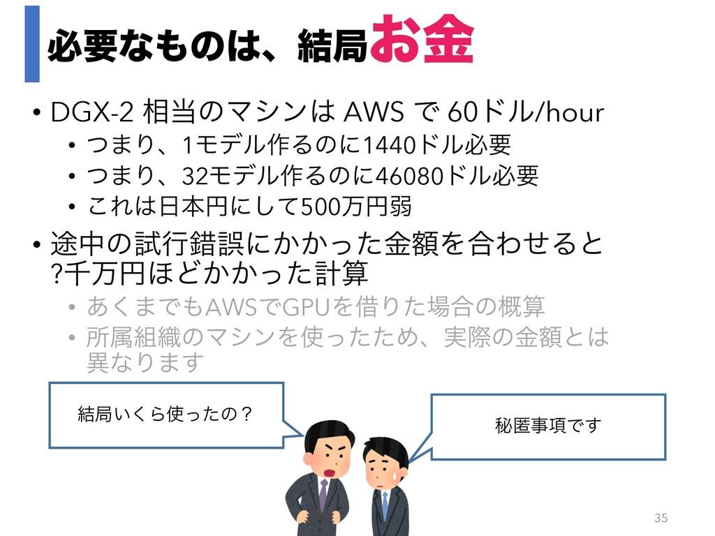 ඞཁͳͷɺ݁ہ͓ۚ • DGX-2 ૬ͷϚγϯ AWS Ͱ 60υϧ/hour • ͭ...