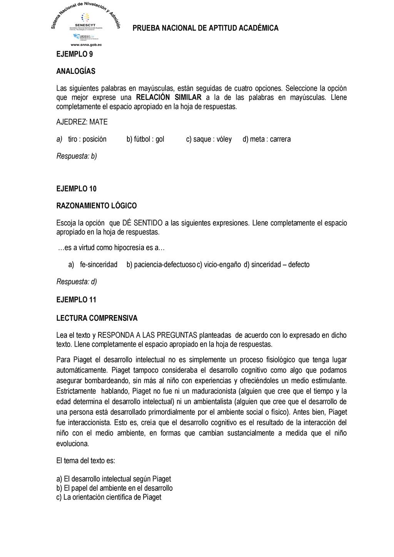PRUEBA NACIONAL DE APTITUD ACADÉMICA EJEMPLO 9 ...