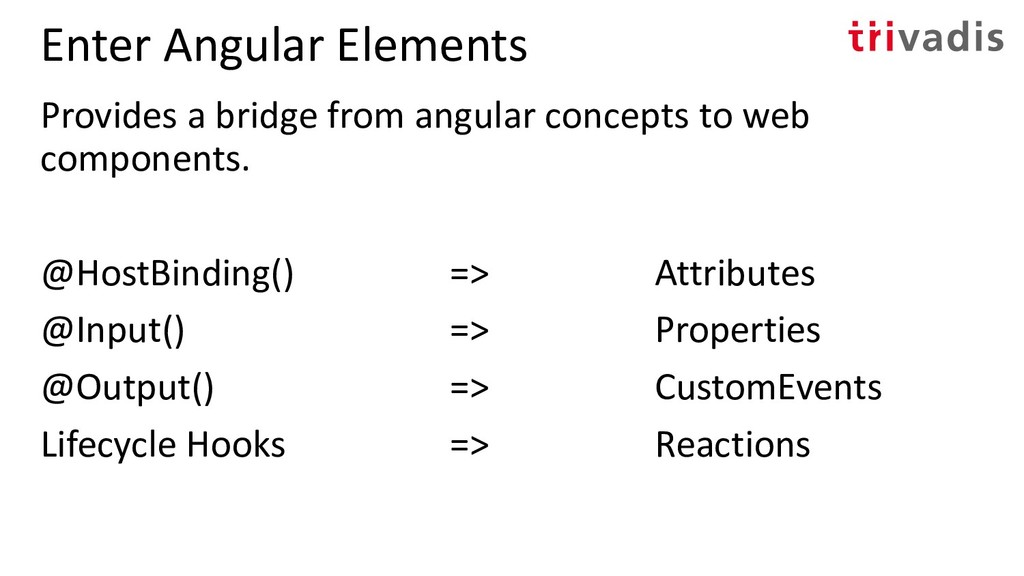 Enter Angular Elements Provides a bridge from a...