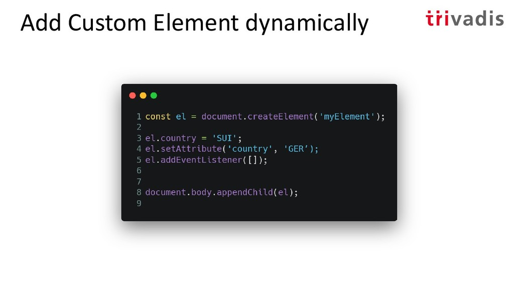Add Custom Element dynamically