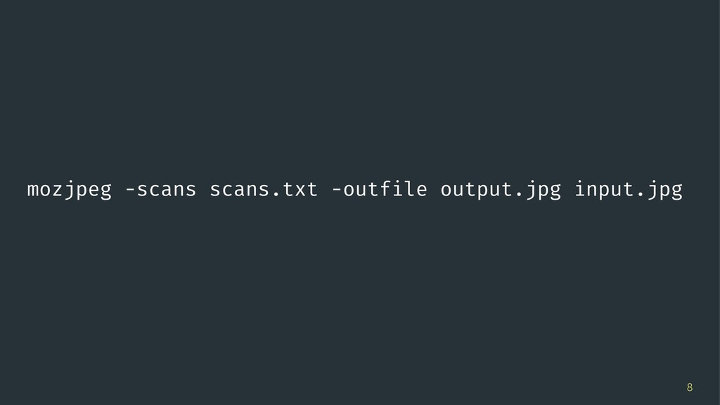 mozjpeg -scans scans.txt -outfile output.jpg in...