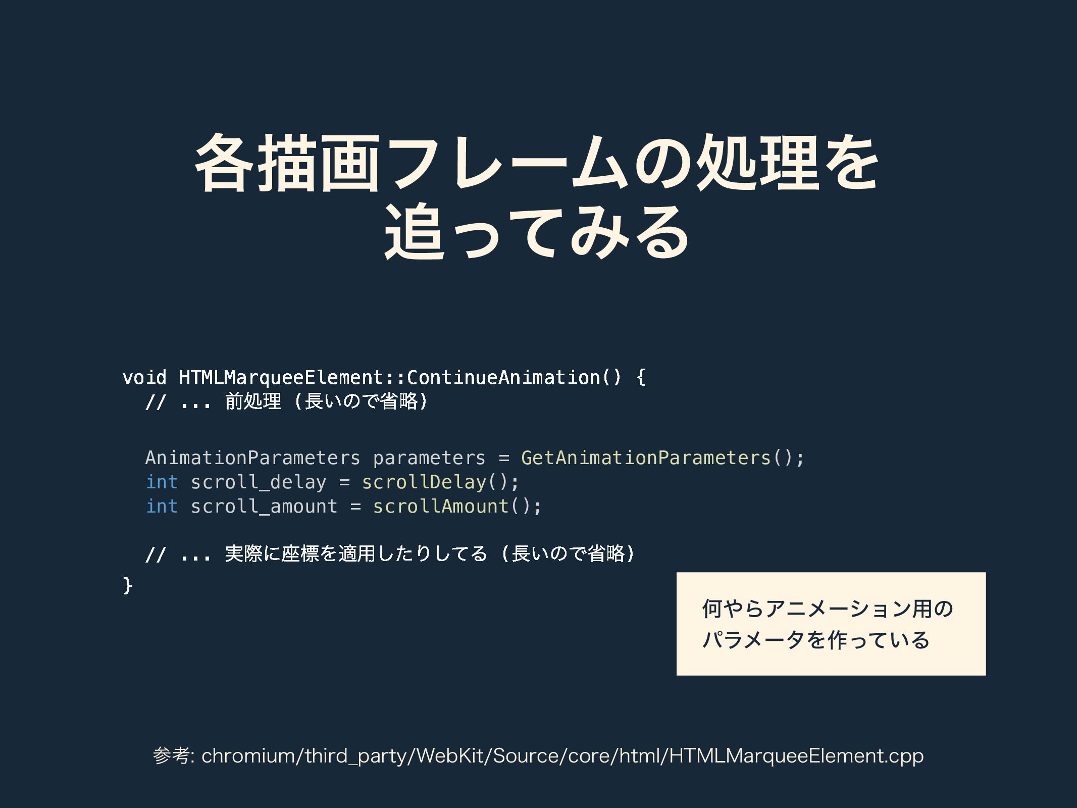 ֤ඳըϑϨʔϜͷॲཧΛ ͬͯΈΔ void HTMLMarqueeElement::Cont...