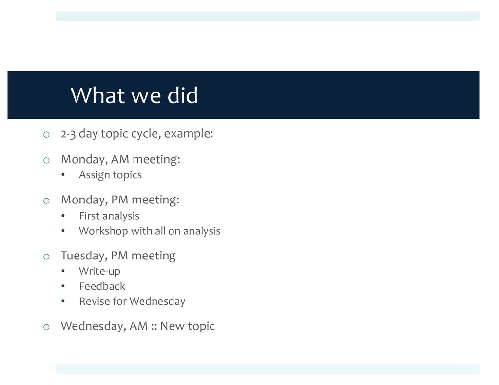 What we did o 2-3 day topic cycle, example: o M...