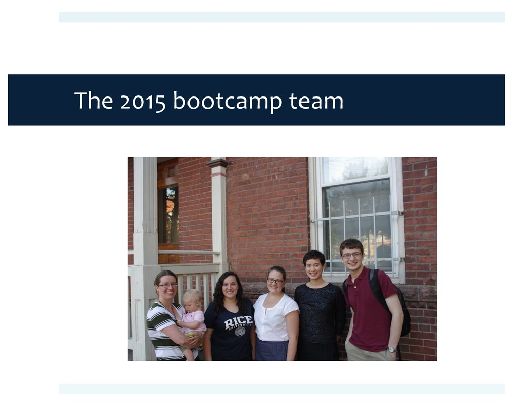 The 2015 bootcamp team