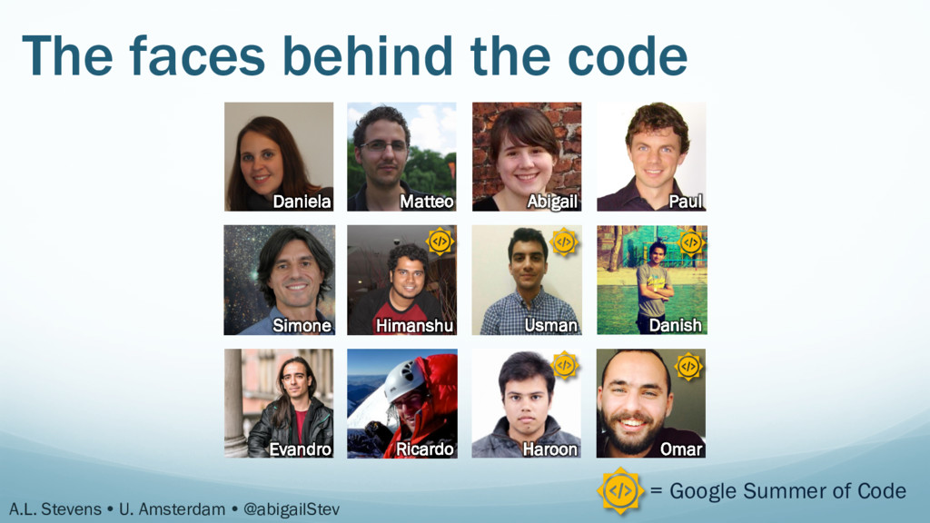 The faces behind the code Daniela Matteo Abigai...