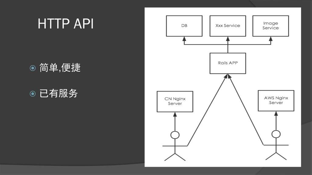 HTTP API ž 简单,便捷 ž 已有服务