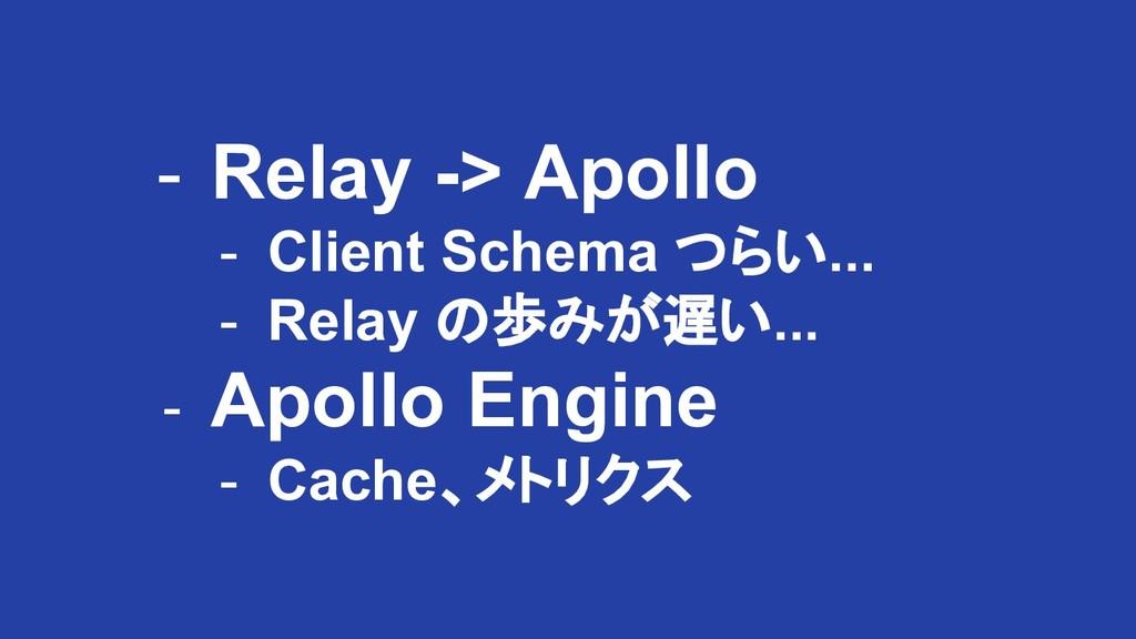 - Relay -> Apollo - Client Schema つらい... - Rela...