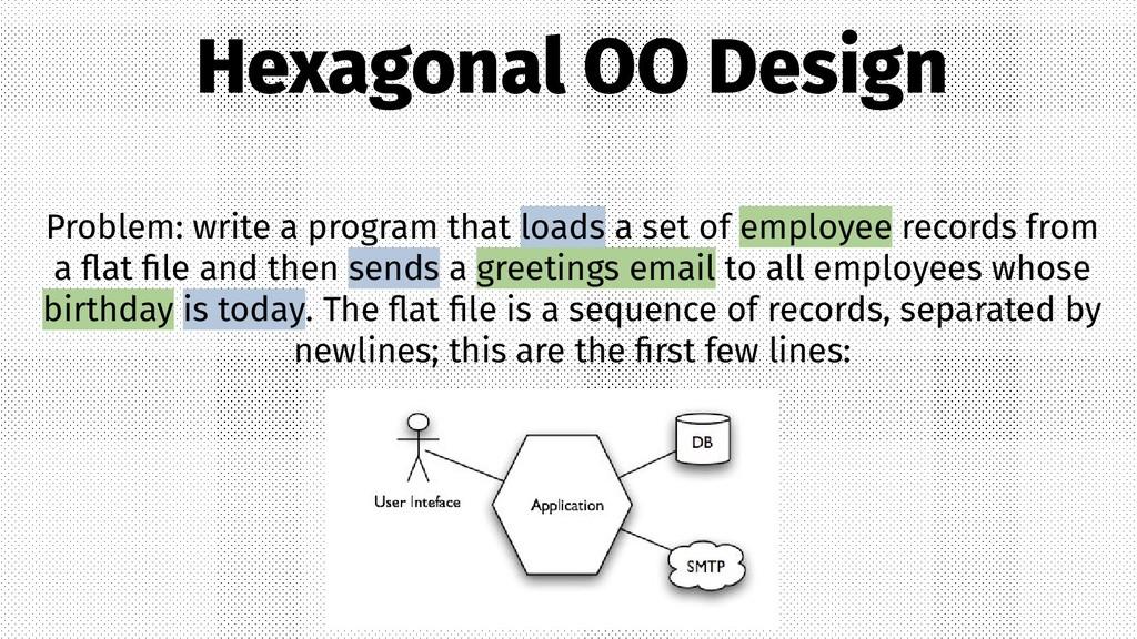 Hexagonal OO Design Problem: write a program th...
