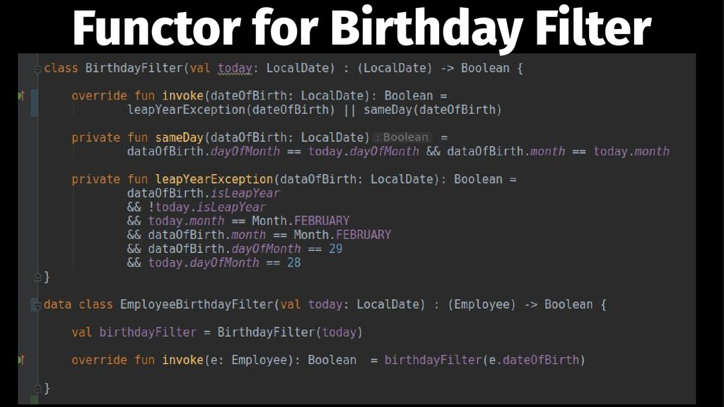 Functor for Birthday Filter