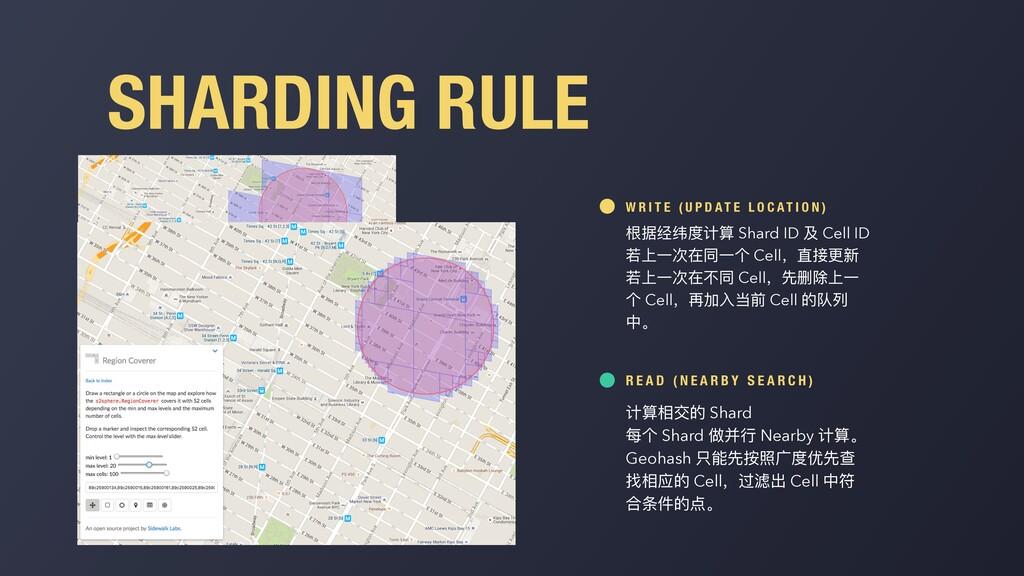 SHARDING RULE 根据经纬度计算 Shard ID 及 Cell ID 若上⼀次在同...