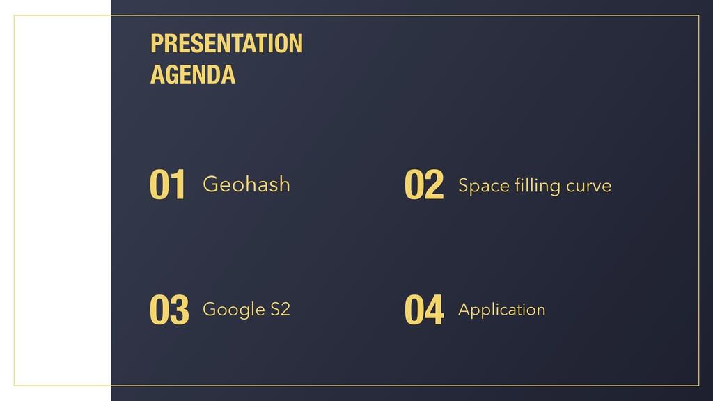 PRESENTATION AGENDA Geohash 01 03 Google S2 02 ...