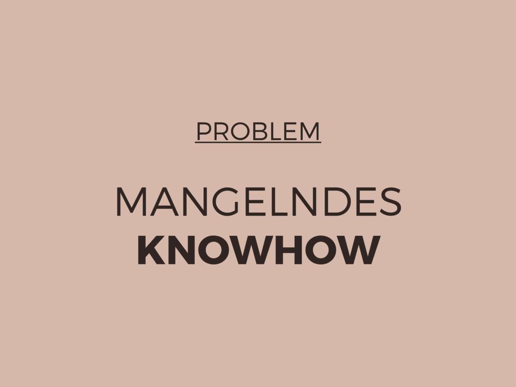 PROBLEM MANGELNDES KNOWHOW
