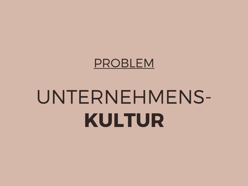 PROBLEM UNTERNEHMENS- KULTUR