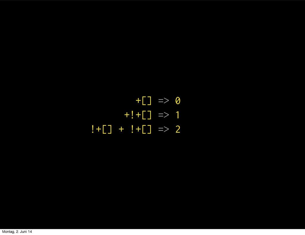 +[] => 0 +!+[] => 1 !+[] + !+[] => 2 Montag, 2....