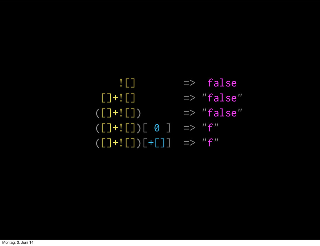 """![] => false []+![] => """"false"""" ([]+![]) => """"fal..."""