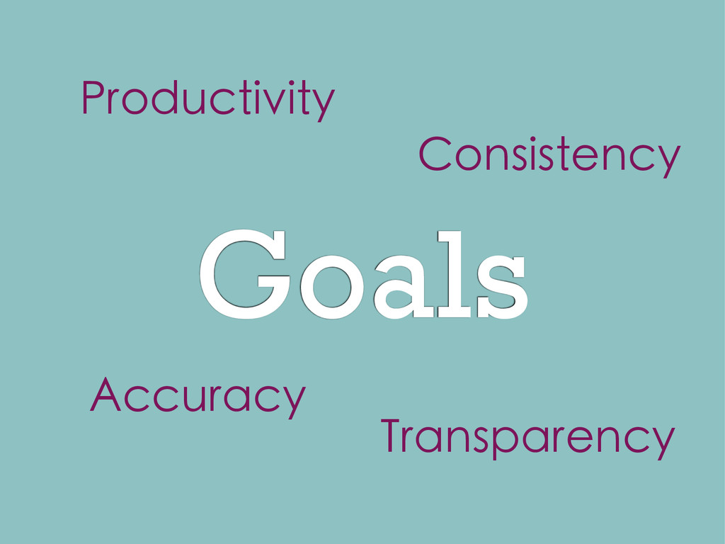 Goals Productivity Accuracy Consistency Transpa...