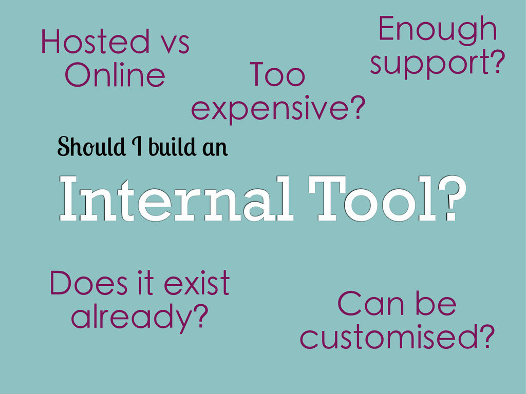 Internal Tool? S I b Does it exist already? Hos...