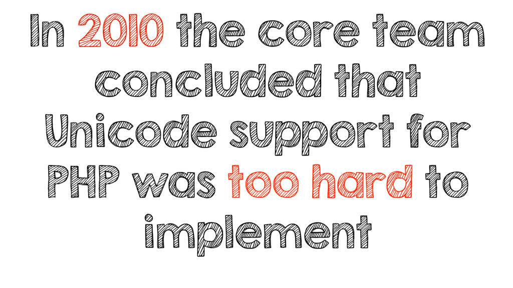 In 2010 the core team concluded that Unicode su...