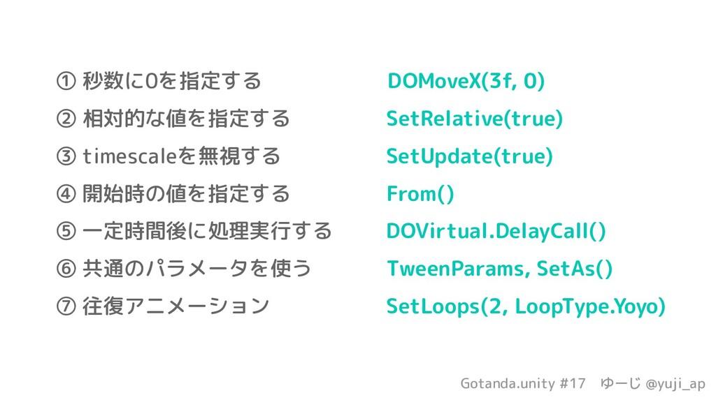 Gotanda.unity #17 ゆーじ @yuji_ap ① 秒数に0を指定する     ...